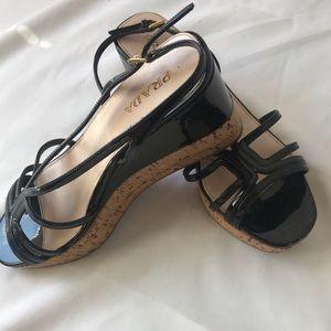 EUC Prada Black Patent Leather Platform Sandal